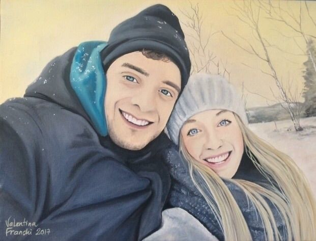 Winter - oil canvas 30x40 - couple - valentinafranchi92 | ello