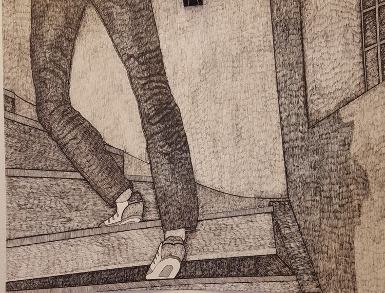 Girl climbing stairs - drawing, detail - iristk | ello