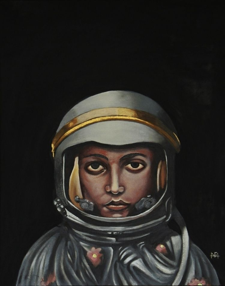 astronauta - 30x40 cm óleo sobr - afa-vasquez | ello