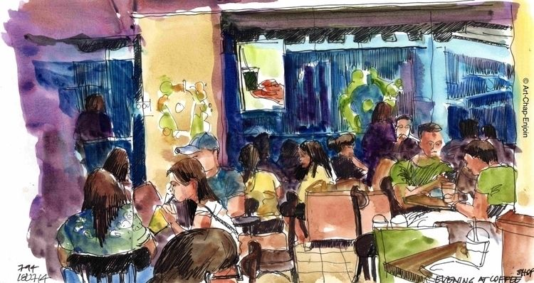 794 - Evening coffee shop sketc - artchapenjoin | ello