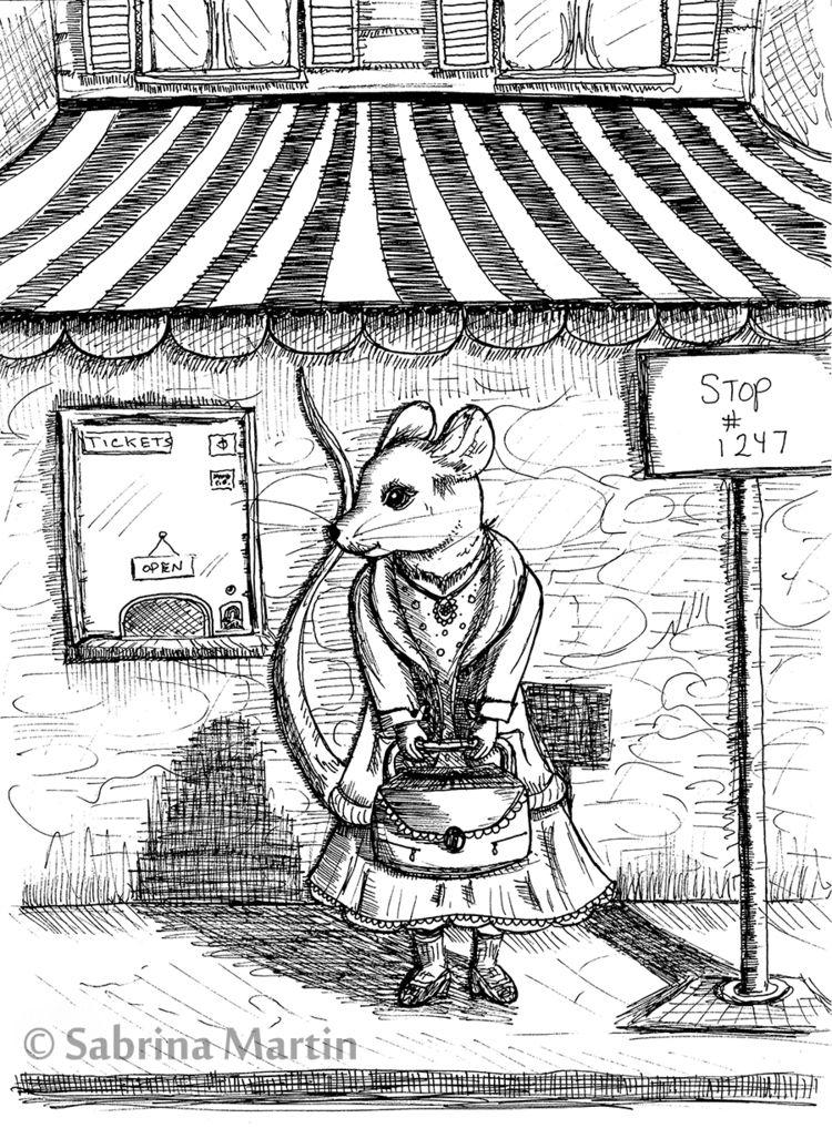 Mouse waits bus. Fine line draw - sabrinam | ello
