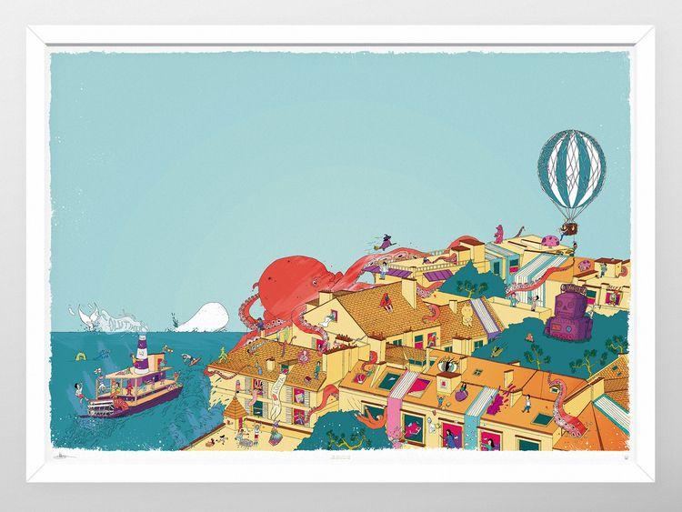 Octopus Town Illustration. Wrap - justblack   ello