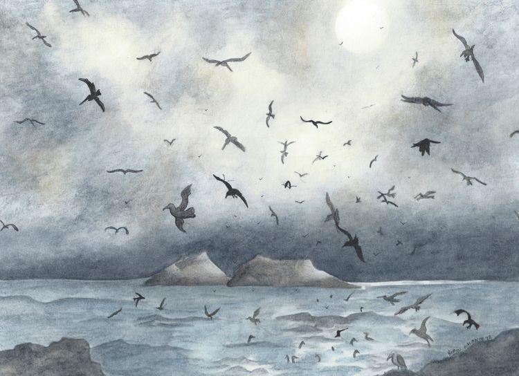 Birds Sutro Baths - watercolor  - robingalante | ello