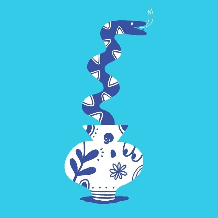blue snake - illustration, drawing - rbubnis | ello
