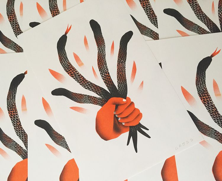 Snakefist riso prints purchase - grossillustration | ello
