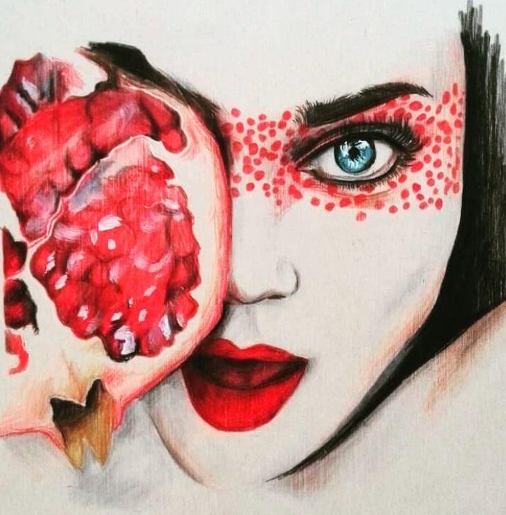 Frau mit Granatapfel (color pen - katharinawozny | ello