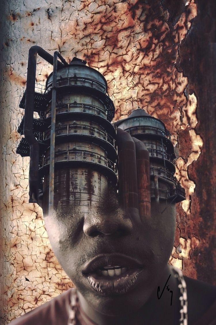 """""""Rust"""" series- Wreckage - collageart - cashmattock   ello"""