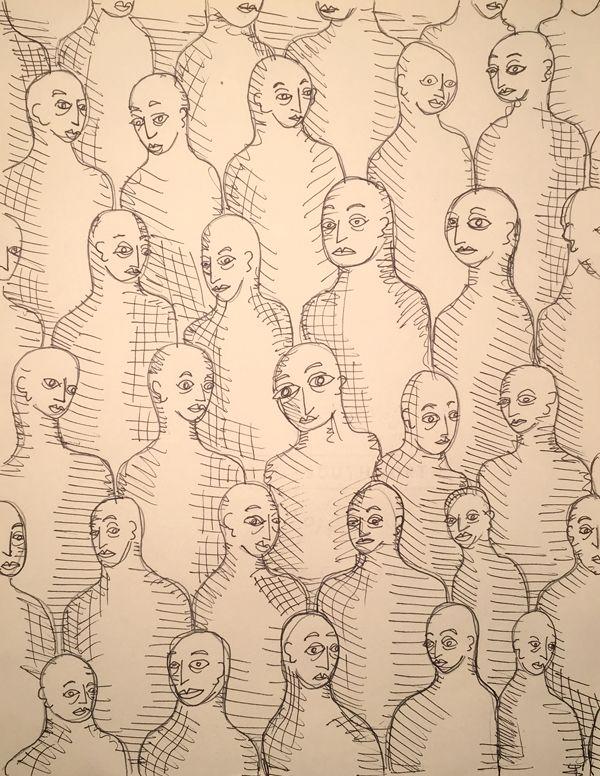 crowd pattern - ink, drawing, wallpaper - catswilleatyou | ello