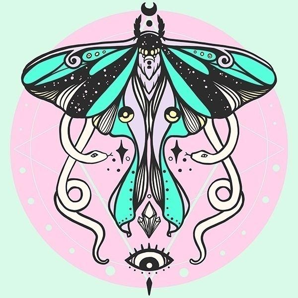newest illustration: Luna Moth  - cellsdividing | ello