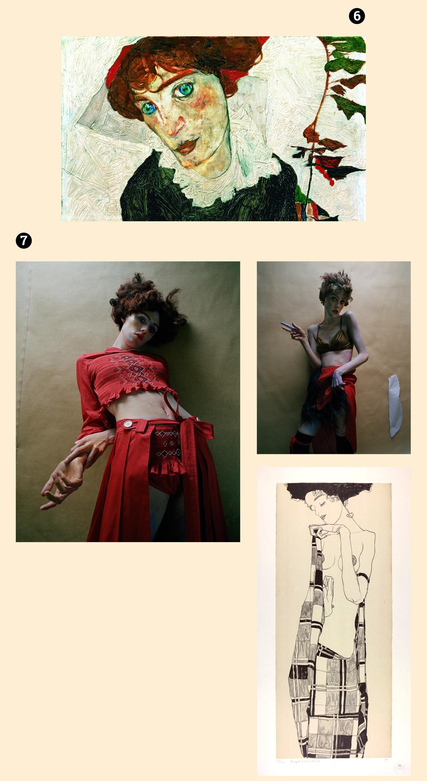 Obraz przedstawia cztery fotografie, z czego dwie to fotografie modelek w pozach, a dwie pozostałe przedstawiają prace znanego artysty.