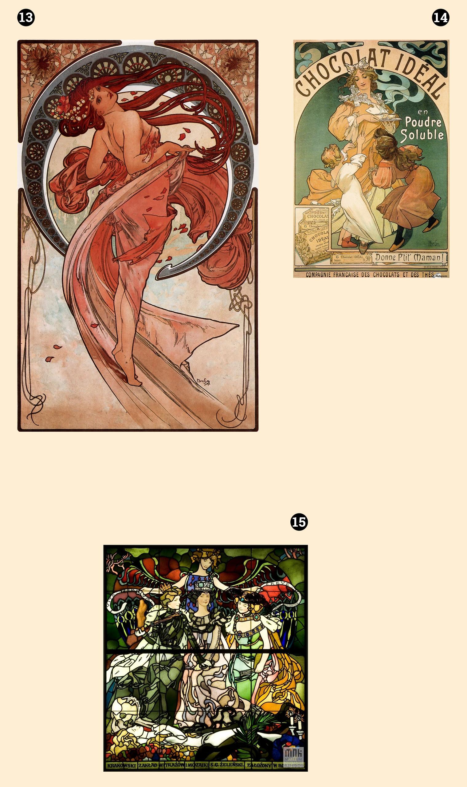 Obraz przedstawia trzy fotografie. Jedna z nich przedstawia witraż, dwie pozostałe obrazy znanego artysty. Całość na jasno-żółtym tle.