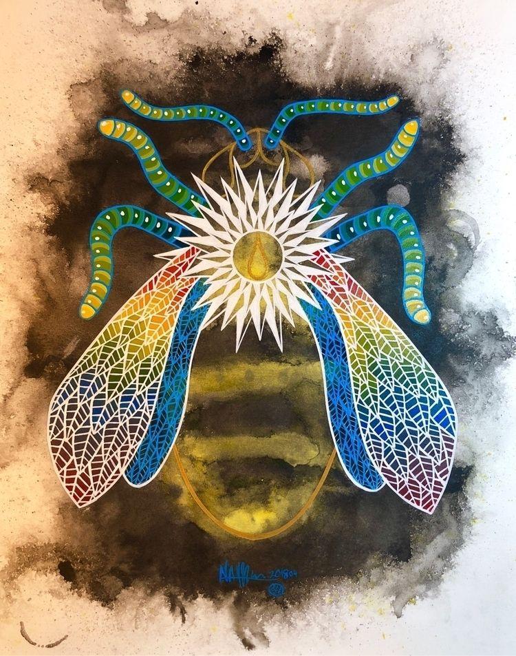 13th - bee, painting, anniversary - nathanawoodart | ello