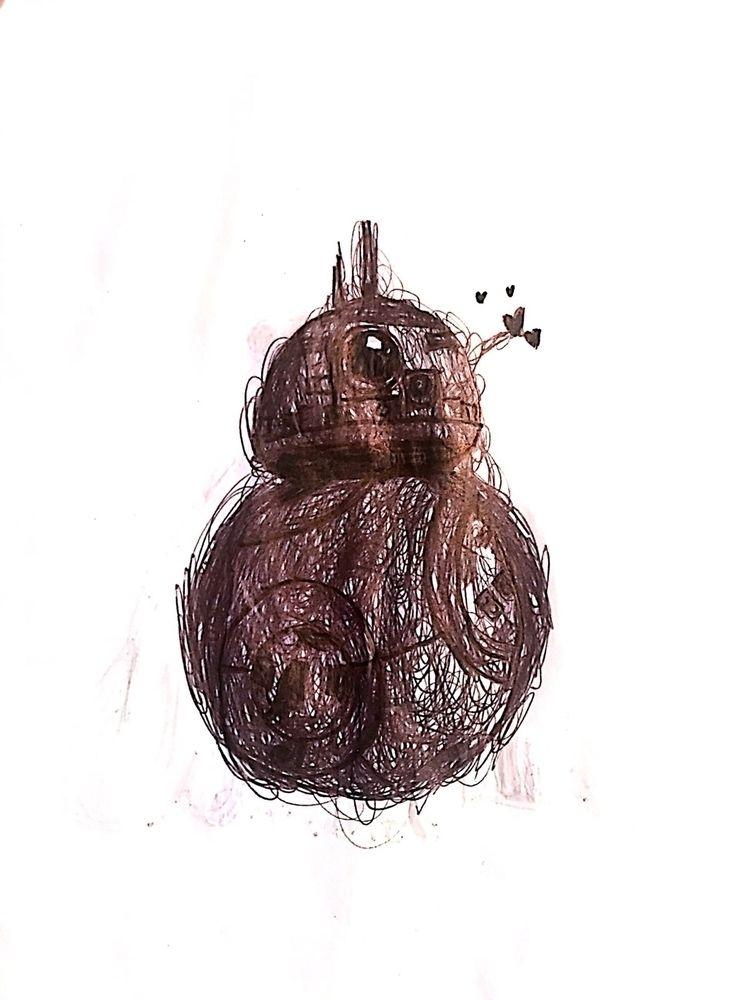 Sketch: BB8, pen ink - art, illustration - phobic_mango | ello