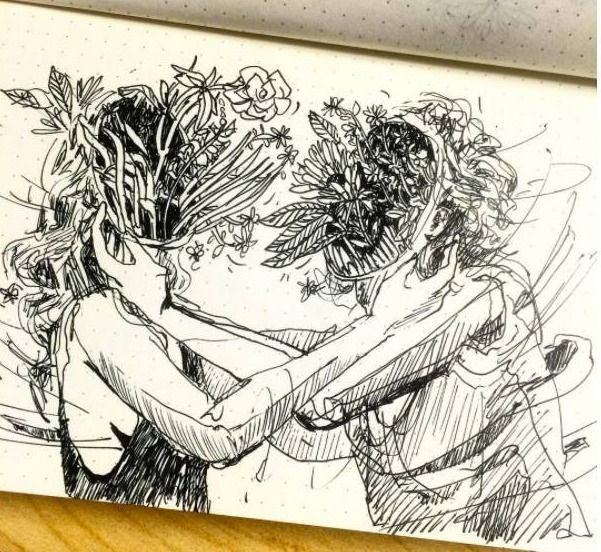 playing hair - sketchbook, drawing - blflood | ello
