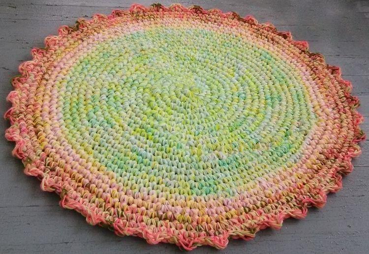 Handmade Crochet Rug 36 Reclaim - maryherrigfiberarts | ello