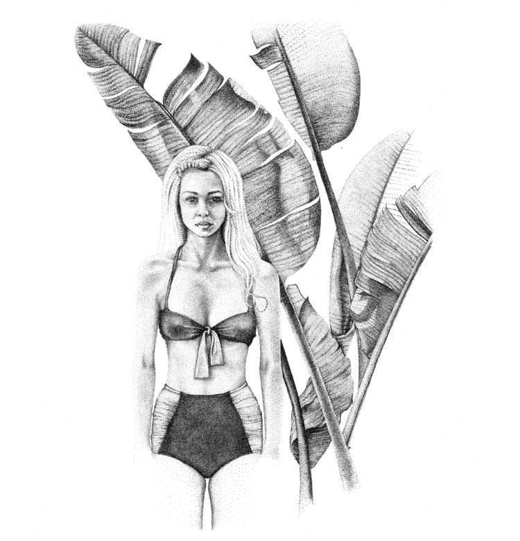 girl  - nature, woman, dotwork, illustration - xovict | ello