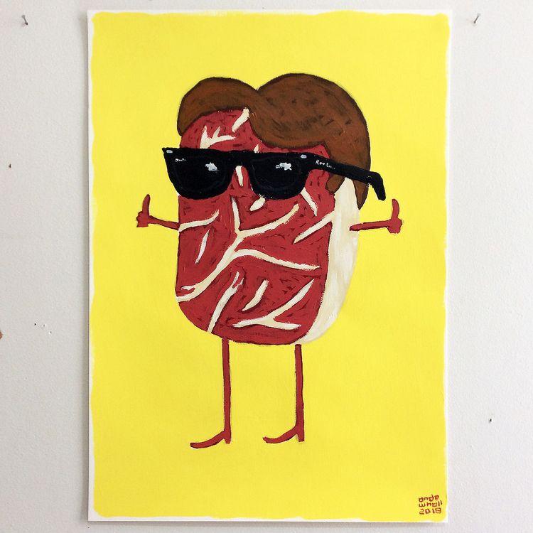 Meat Fonzie. Aaaayyyyy - painting - andewhallart | ello