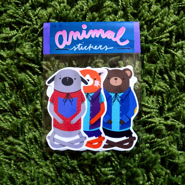 Animal Stickers! designed 6 set - applecheeksart | ello