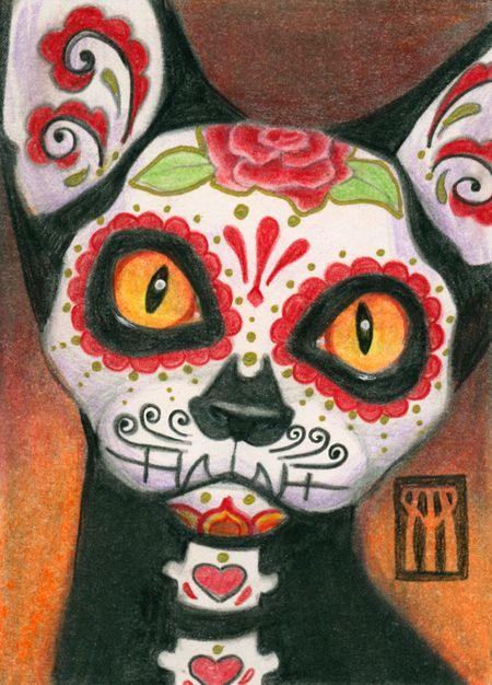 Day Dead Cat. Colored pencil, m - nightmareartist | ello