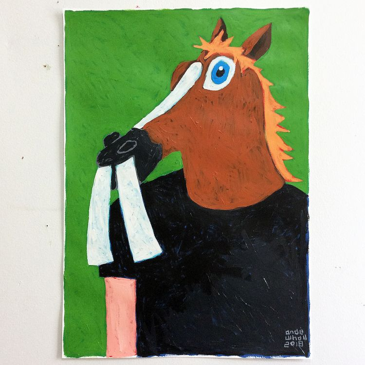Man modified horse mask - painting - andewhallart | ello