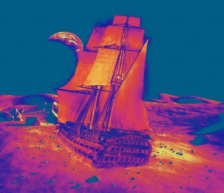 Ship stranded desert. collage p - jasonlee3071 | ello
