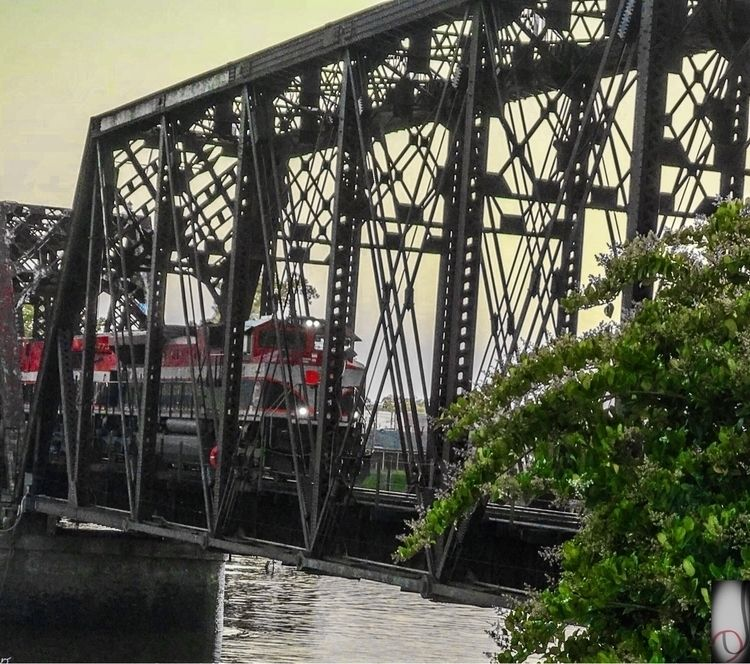 train, bridge, sunset, river - bayouhippie | ello