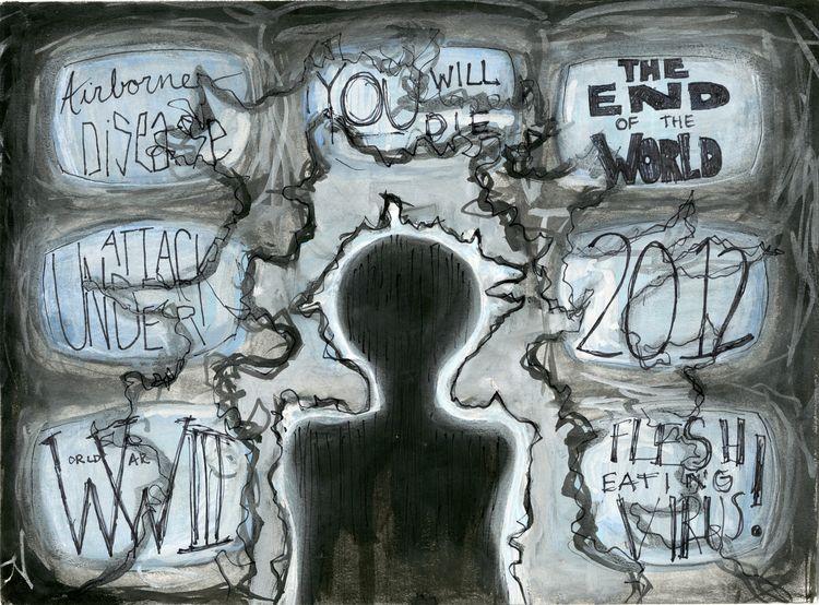 Paranoia, 2012. Charcoal, pen,  - mlledarcel | ello