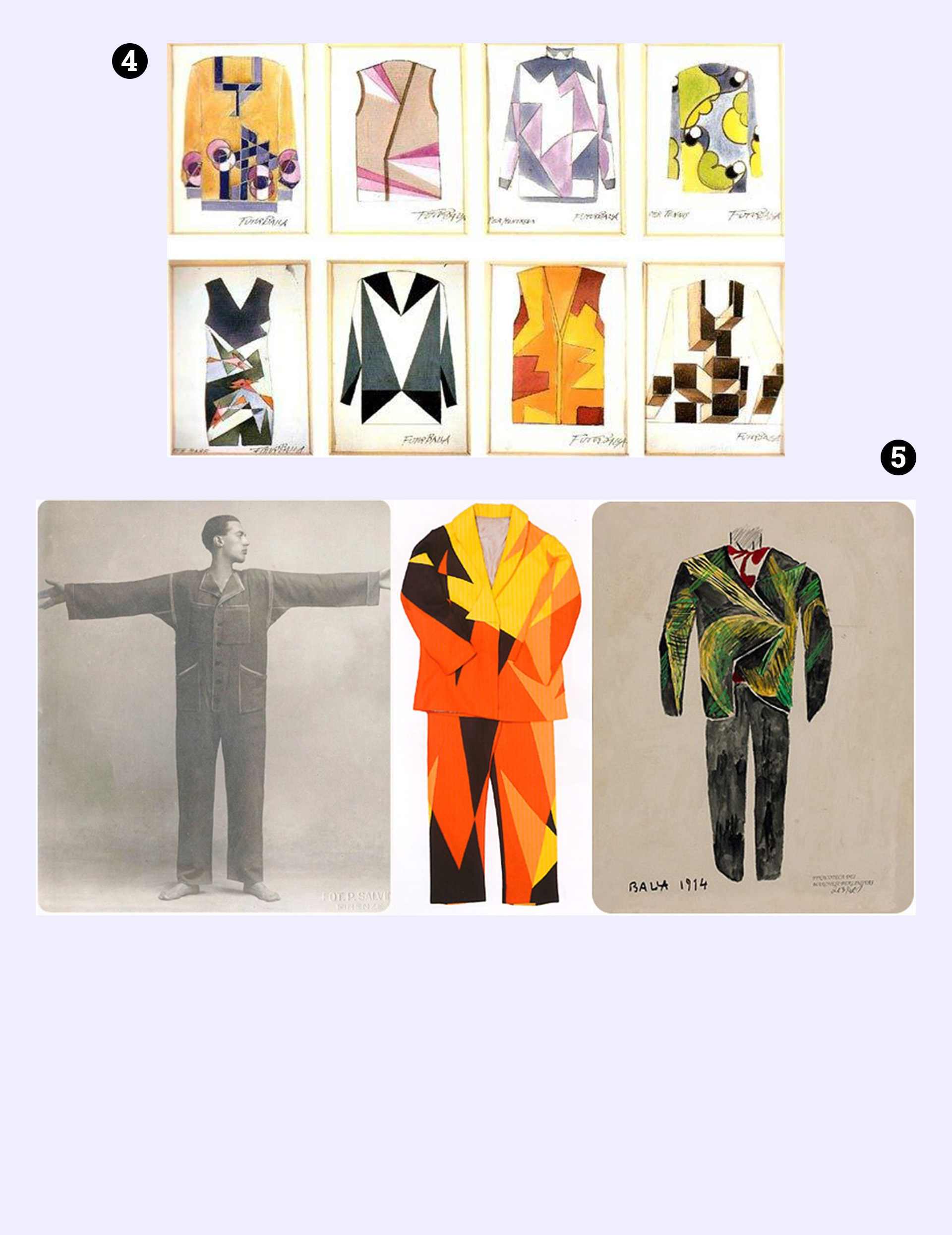 Obraz przedstawia projekty kostiumów na jasno-fioletowym tle.