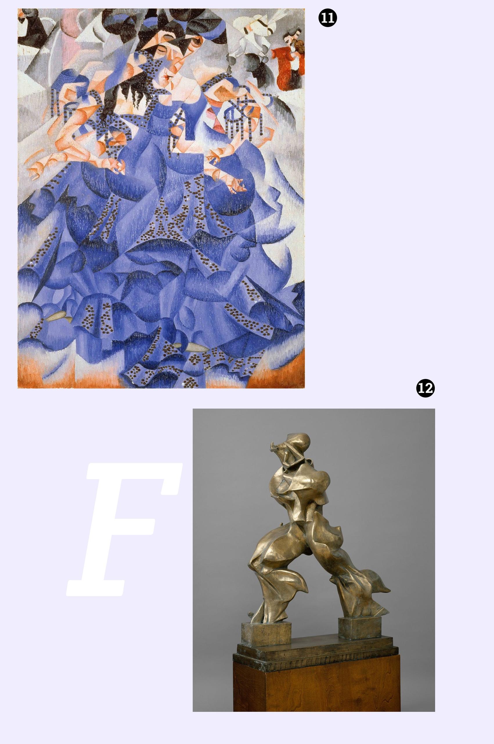 Obraz przedstawia fotografię obrazu znanego artysty oraz fotografię rzeźby z brązu. Całość na fioletowym tle.