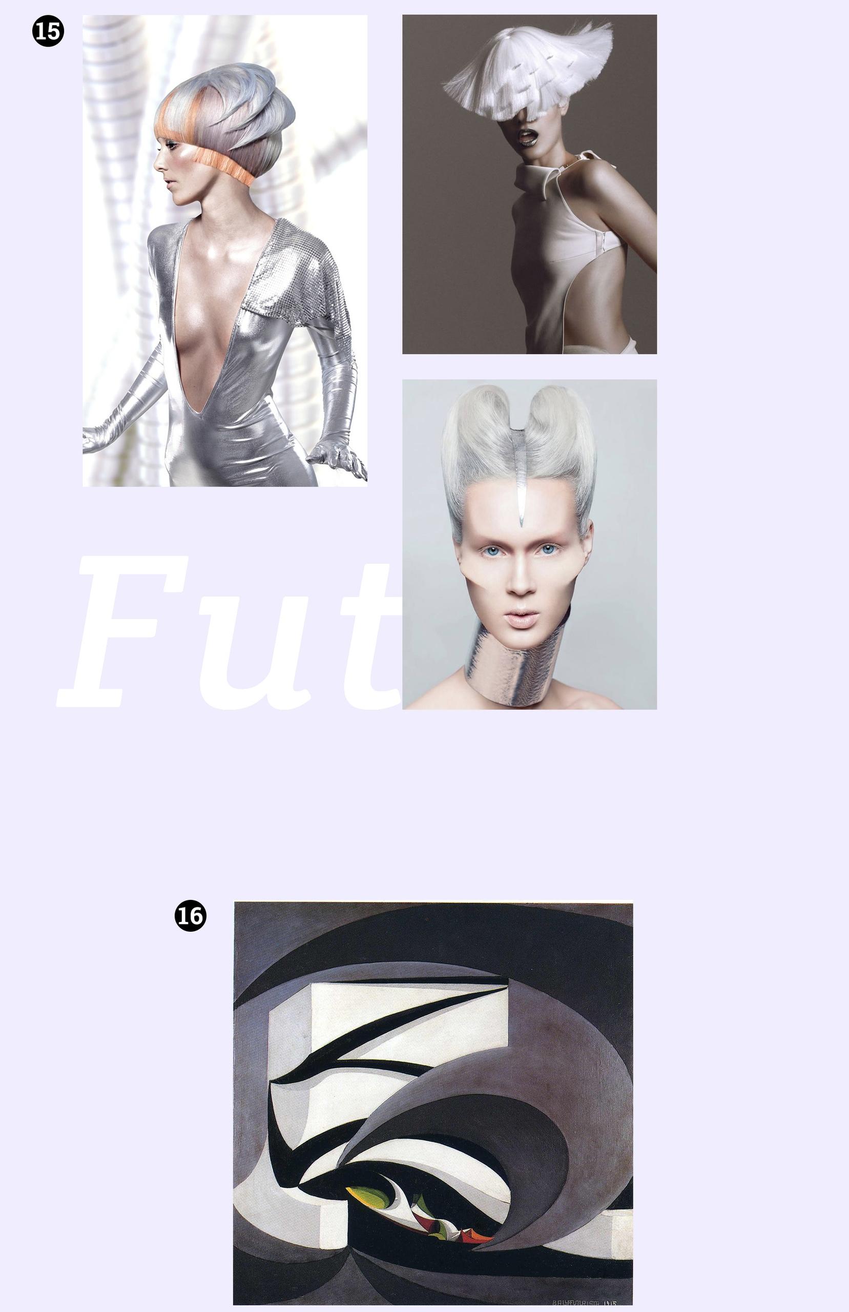 Obraz przedstawia cztery zdjęcia. Na trzech z nich widzimy kobiety w srebrnych kostiumach, mocnych makijażach. Na ostatnim widzimy obraz znanego artysty na płótnie.