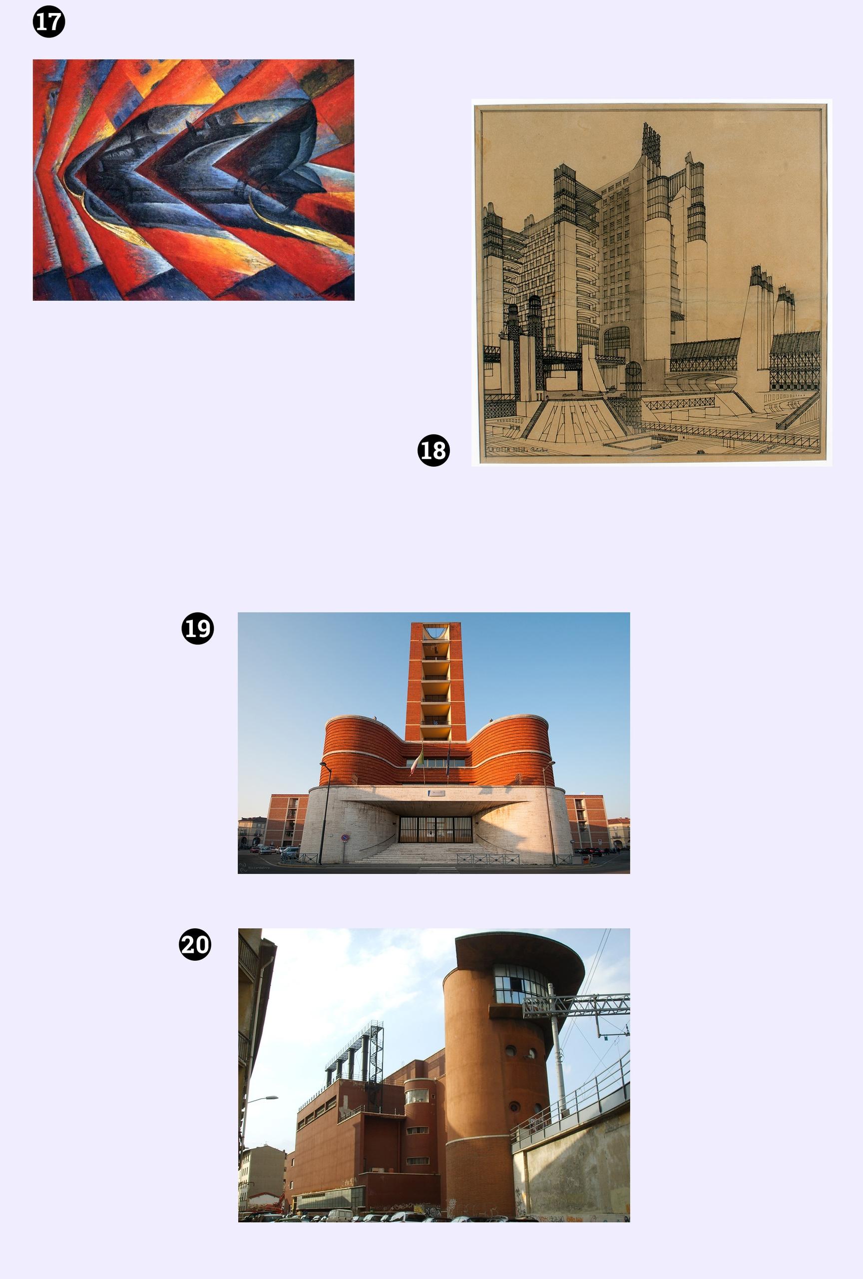 Obraz przedstawia cztery fotografie na jasno-fioletowym tle. Dwie z nich przedstawiają budowle. Jedna to szkic budynku, a jedna jest obrazem znanego artysty.