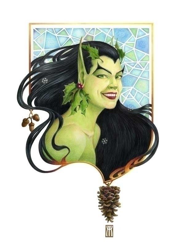 Portrait Yule Goddess. Oils col - nightmareartist | ello