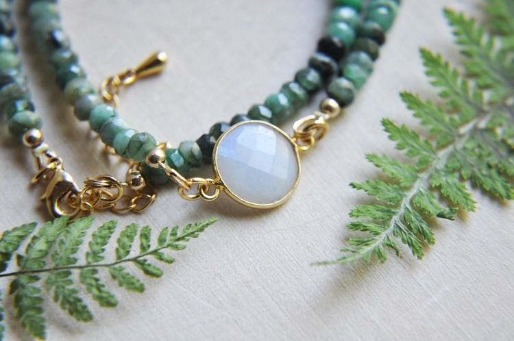 emerald, moonstone, jewelry, etsyjewelry - fawinginlove | ello