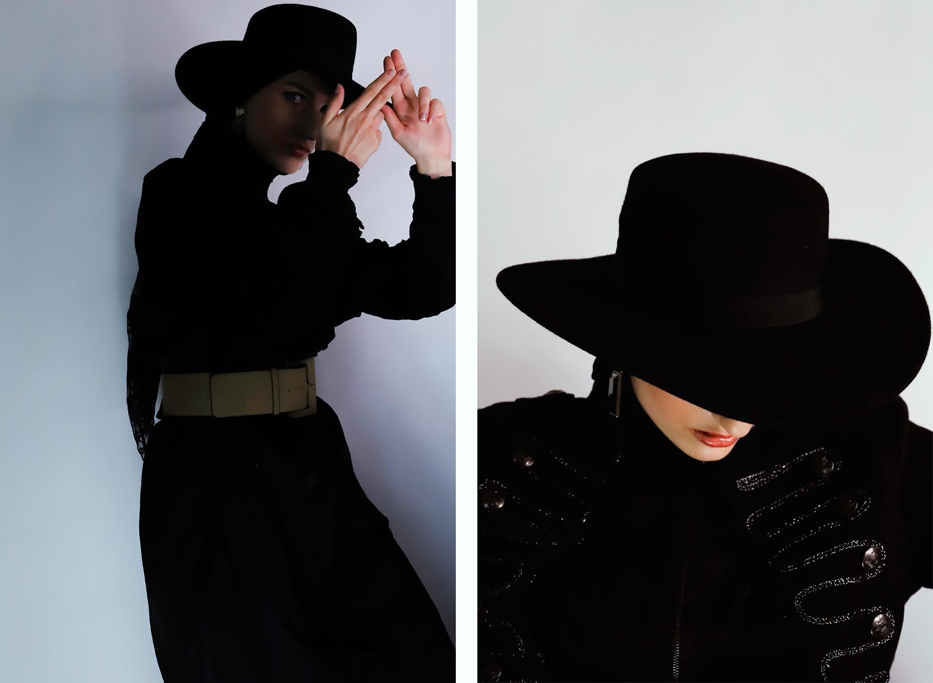 Obraz przedstawia dwa zdjęcia kobiety ubranej w czarny strój i czarny kapelusz.