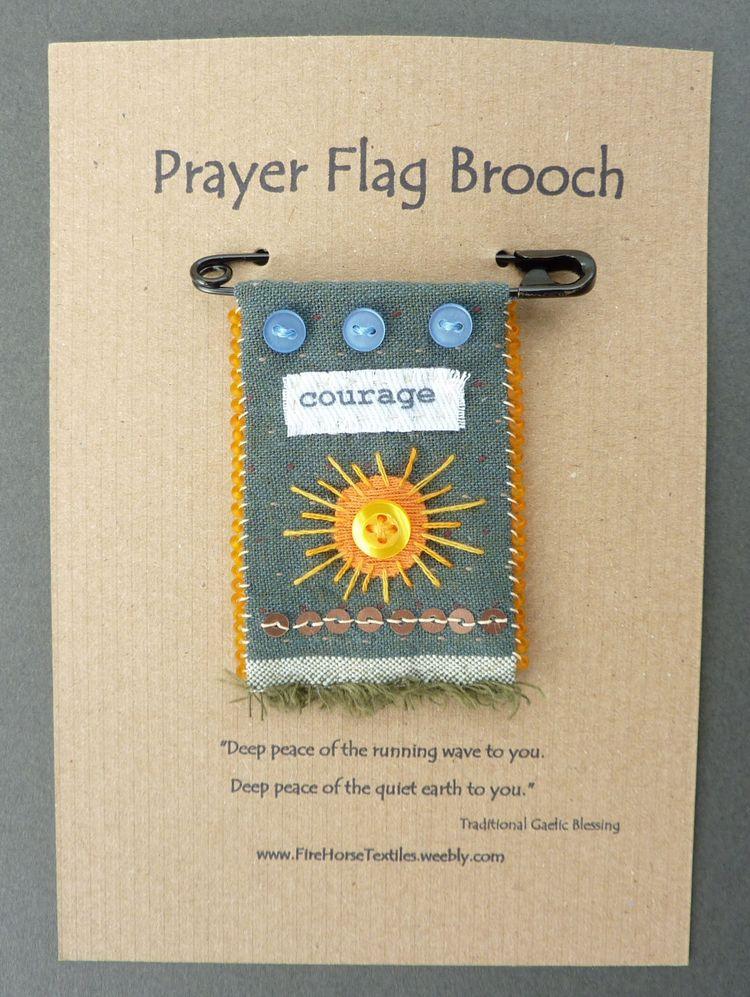 Prayer Flag Brooches - prayerflagbrooch - firehorsetextiles | ello