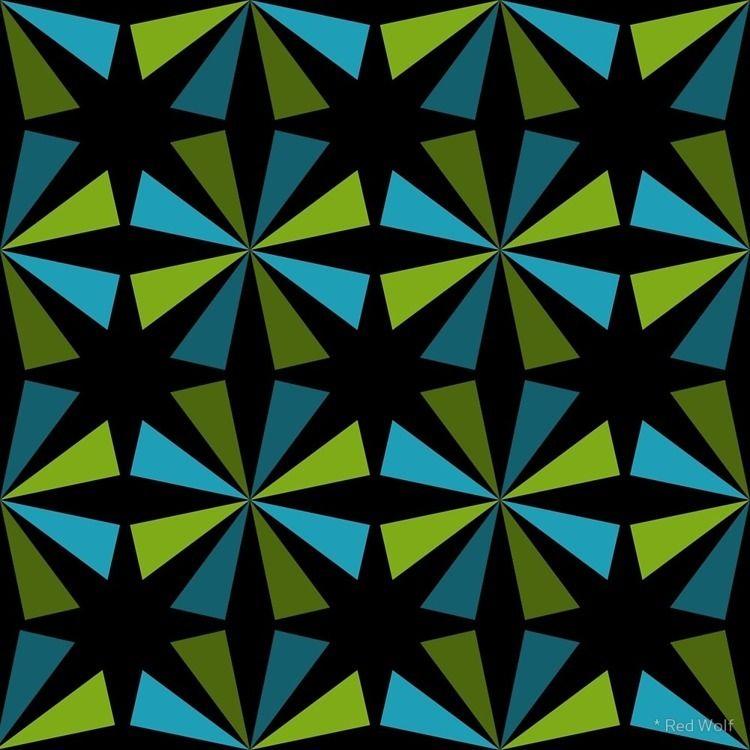 Geometric Pattern: Star: Blue/G - red_wolf   ello