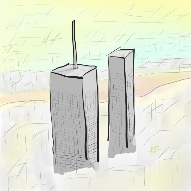 [fz_drawing] Twin Towers. wante - ferdiz | ello