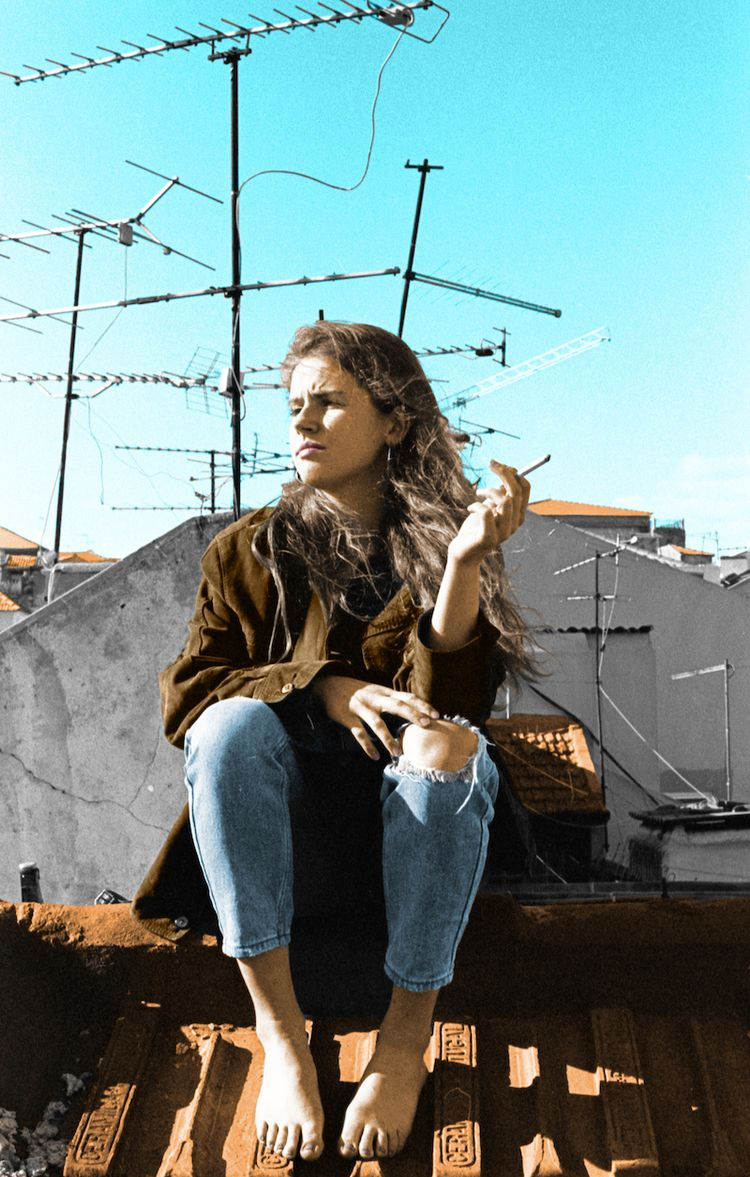 Girl Lisbon Roof - colorized, 35mm - manseeksmuse | ello