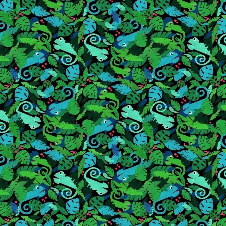 Fabric Pattern Chameleons - spoonflower - piakolle | ello