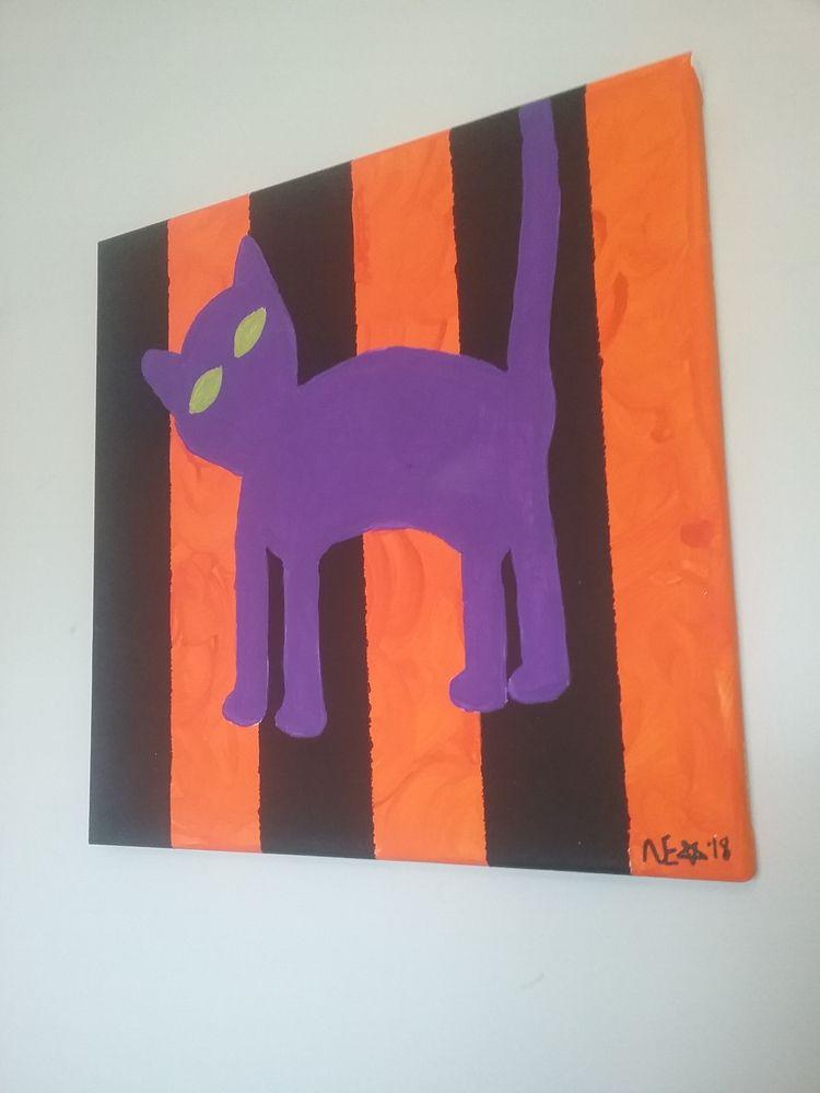 scaredy $40 - purple, cat, scaredycat - ohboyflamingsoy | ello