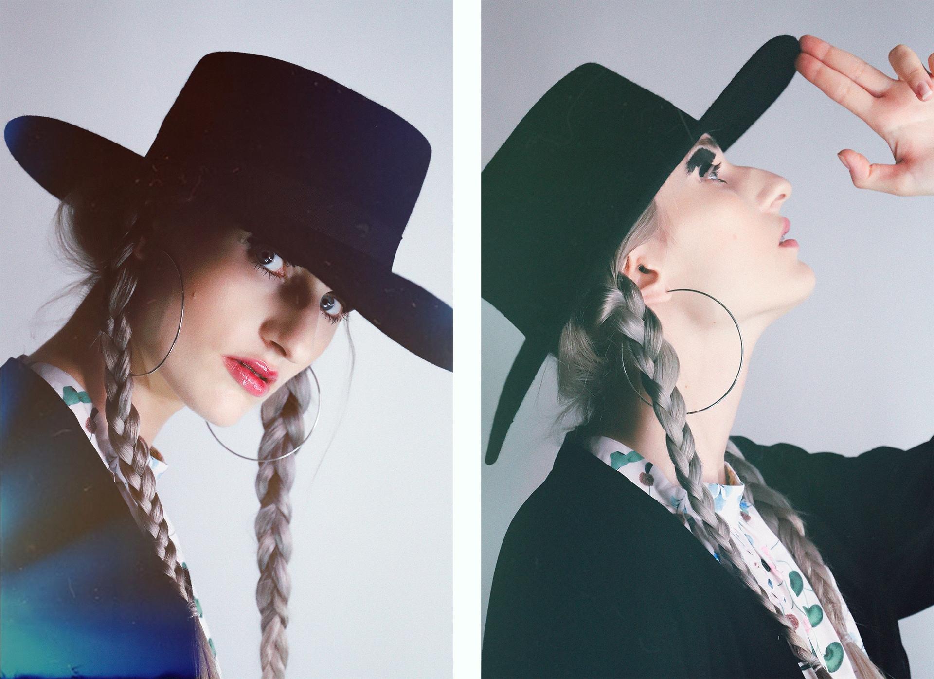 Obraz przedstawia dwa zdjęcia kobiety w czarnym kapeluszu.