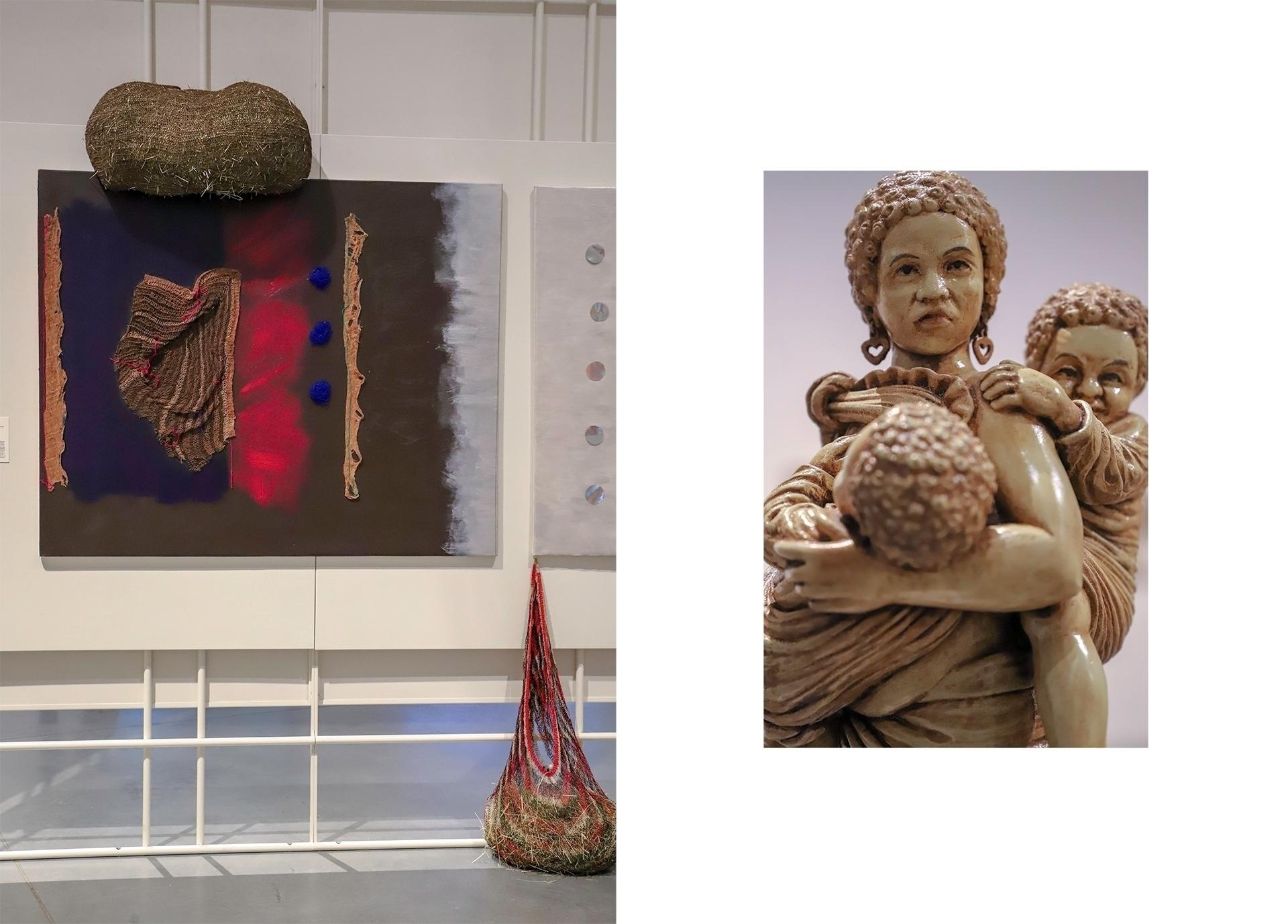 Obraz przedstawia dwa zdjęcia. Z lewej strony widzimy rzeźbę kobiety z dziećmi, z prawej obraz znanego artysty.