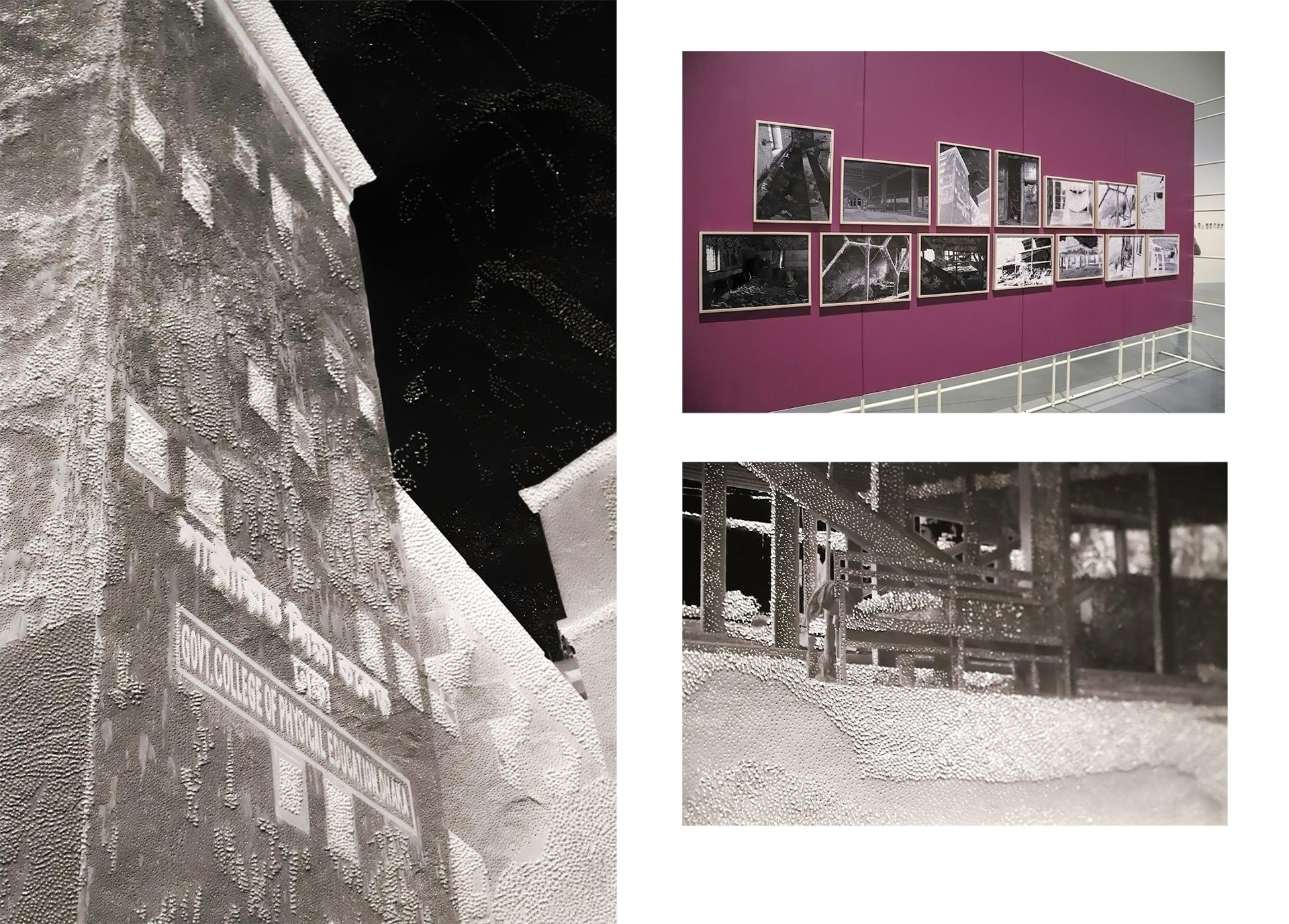 Obraz przedstawia trzy zdjęcia. Jedno z nich to przestrzeń muzeum z zawieszonymi fotografiami. Dwa z nich to zbliżenia na czarno-białe fotografie.