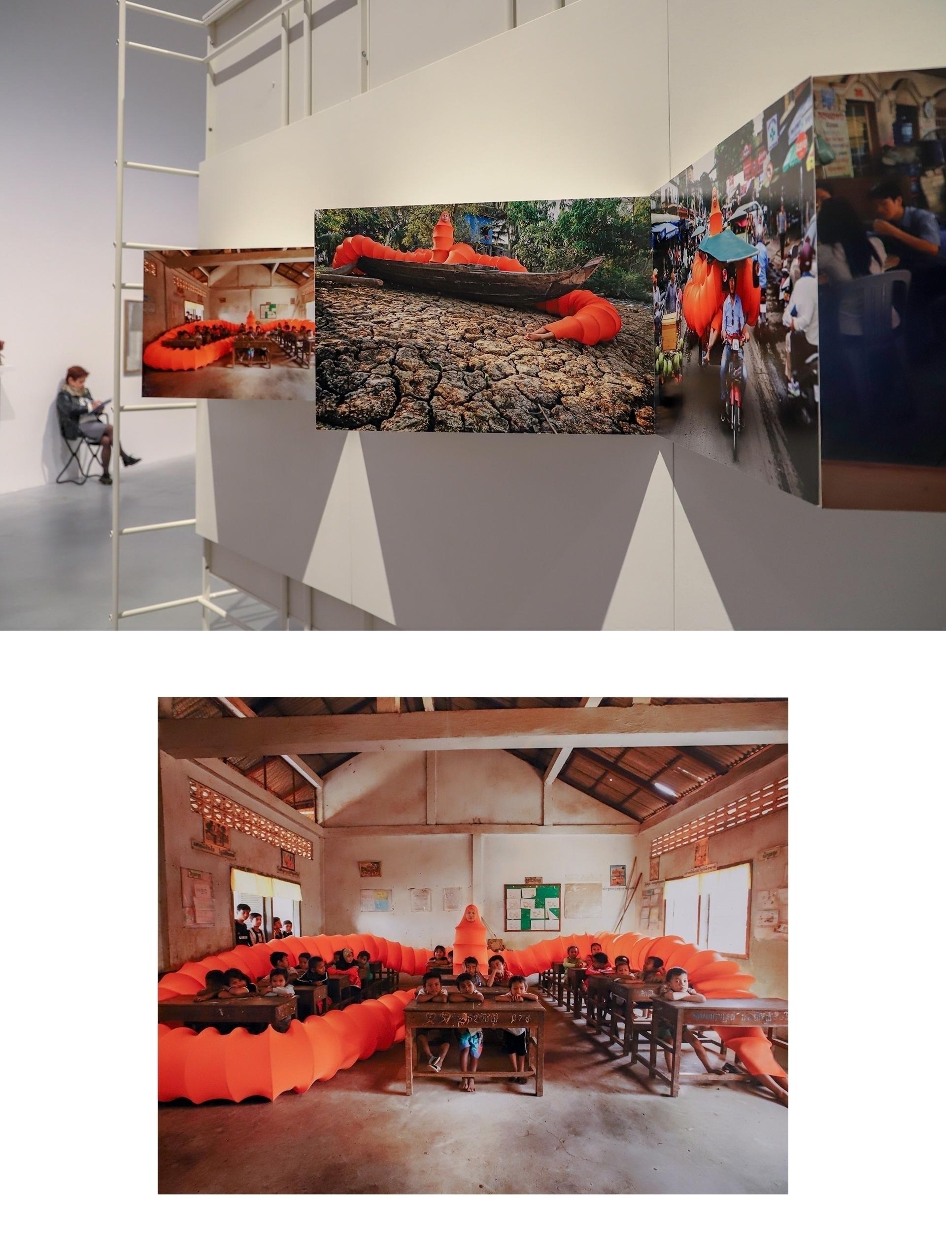 Obraz przedstawia dwa zdjęcia przedstawiające przestrzeń muzeum z pracami fotografki.