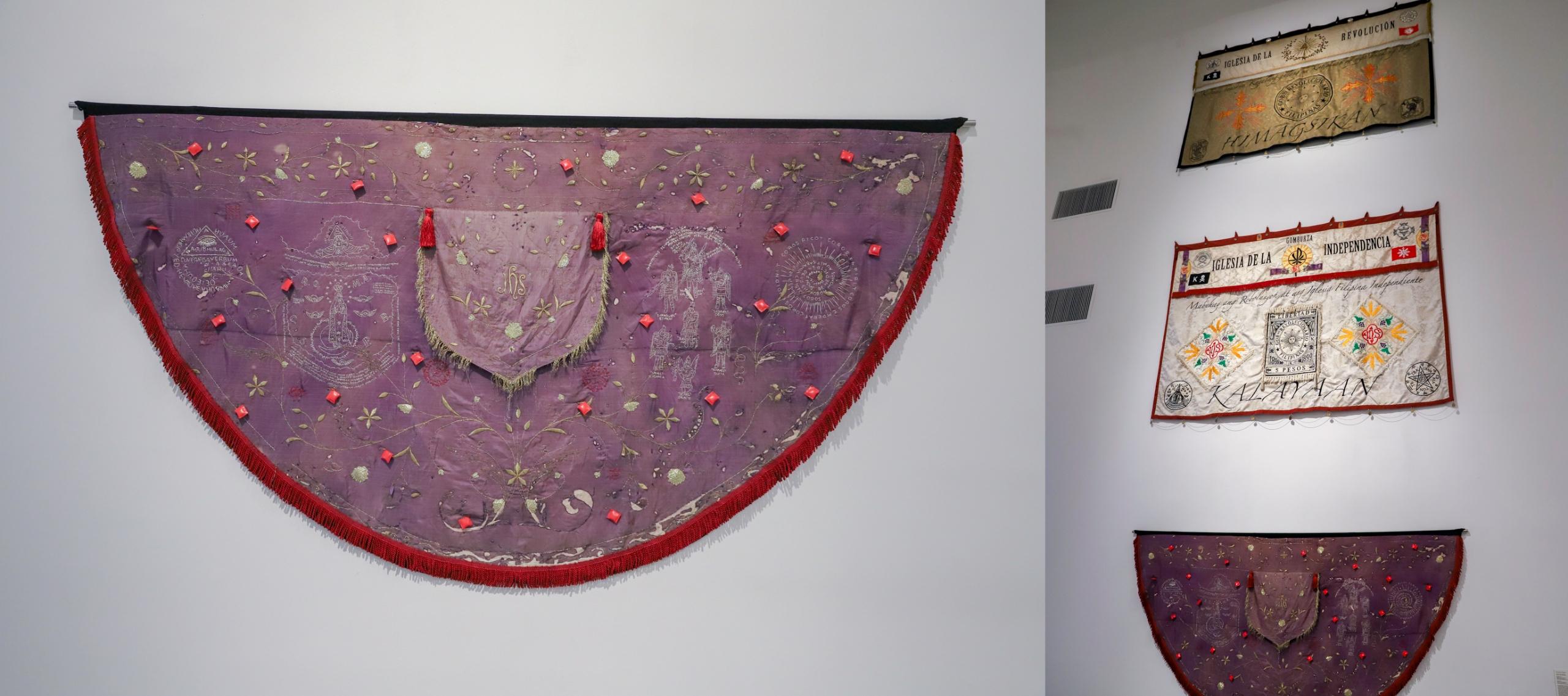 Obraz przedstawia dwa zdjęcia tkanin wiszących na białej ścianie.