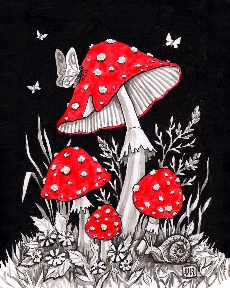 inktober, toadstools, mushrooms - vasilisaart | ello