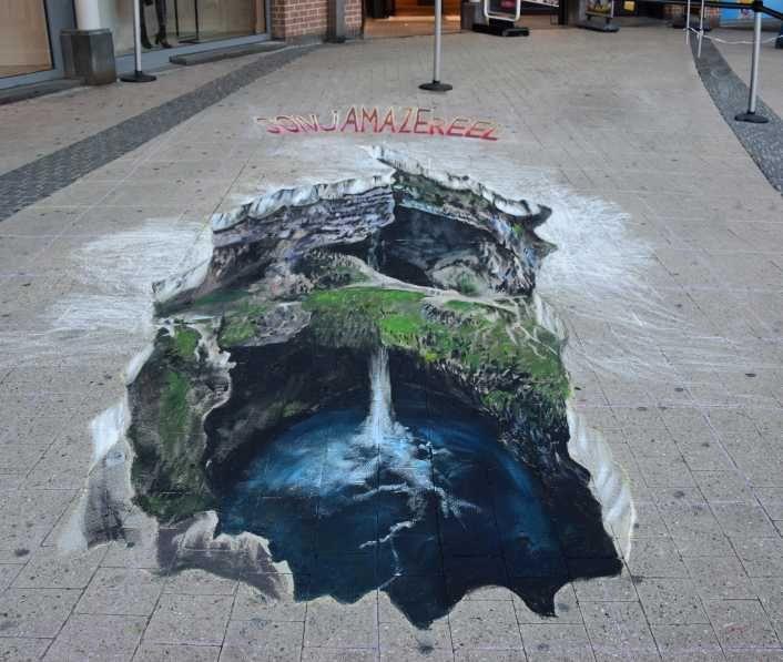 waterfall, 3D, anamorph, streetpainting - sonjamazereel   ello