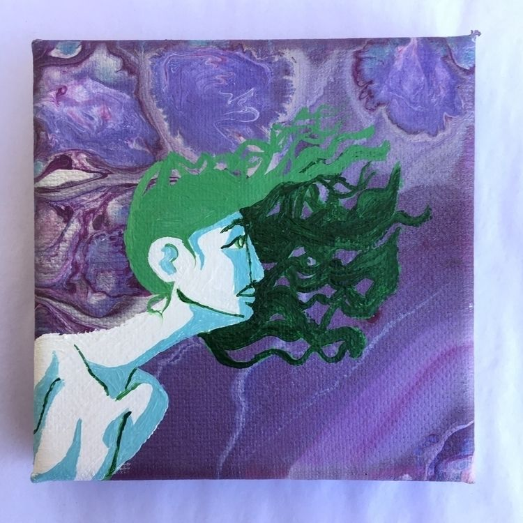 "Wind Floating Lady 4""x4 canvas  - melodysmoker 