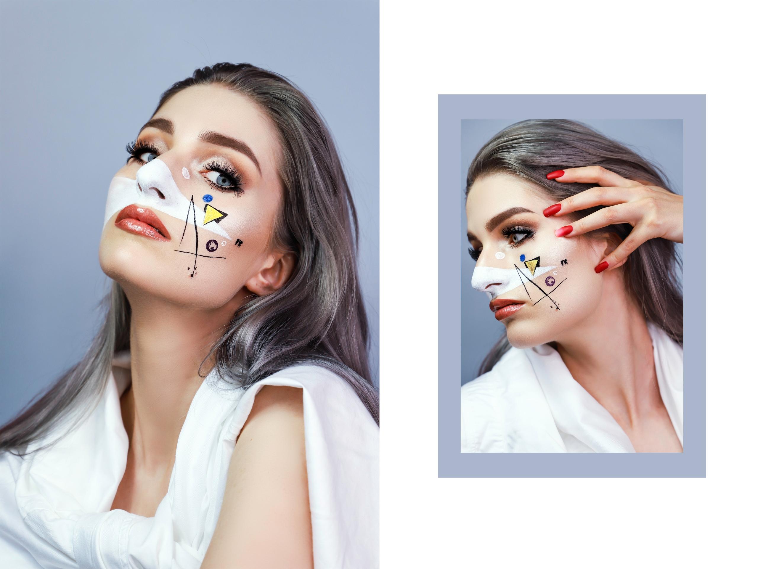 Obraz przedstawia dwa zdjęcia kobiety w graficznym makijażu na szarym tle. Zdjęcie z prawej strony jest mniejsze i oprawione w ramkę.