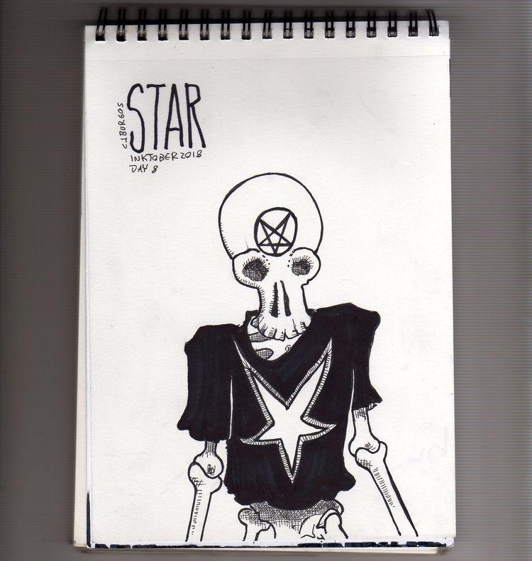 day 8 - inktober2018, skull, star - cjburgos | ello